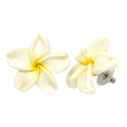 Hawaiian Jewelry Fimo White Plumeria Flower Earrings - 3/4