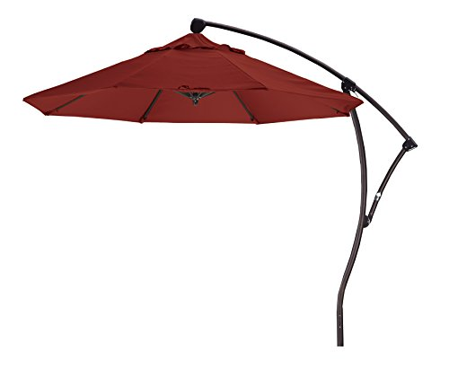 Eclipse Collection 9' Cantilever Market Umbrella Delux Crank Lift - (Terra Bronze Outdoor Hanging)