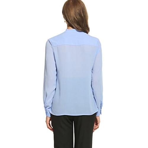 ACEVOG Womens Bow Tie Neck Long Sleeve Casual Work Chiffon Blouse Tops