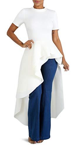 (Temptme Women Ruffle High Low Asymmetrical Irregular Short Sleeve Bodycon Tops Shirts Blouse Dress White XXL)