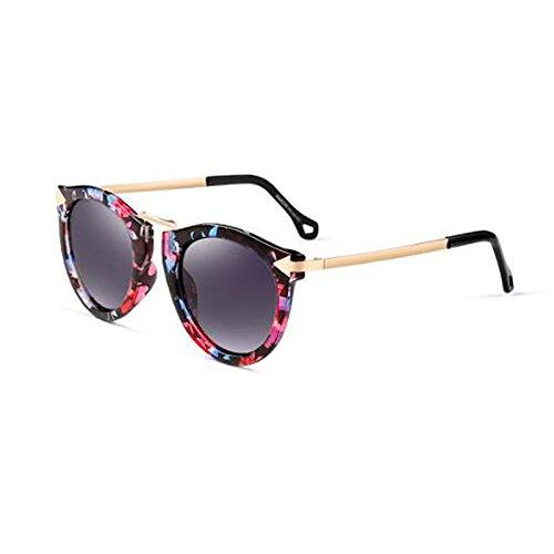 gafas sol de Color de Retro redonda la viaje Marrón femenino decoración cara de de moda tendencia sol de polarizada flor UV viaje caja WLHW Gafas Color aqPTUwRZR