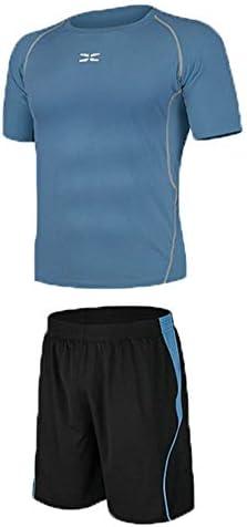 レディースジャージ上下セット Tシャツと緩いショートパンツメンズジムフィットネスランニング下着セット圧縮半袖 吸汗 速乾 (Color : Black blue, Size : S)