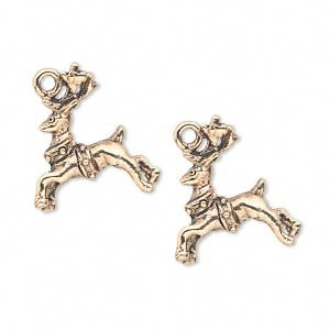 Charm antique gold-plated pewter (tin-based alloy) 20x17mm two-sided reindeer with collar