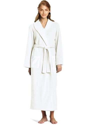 Velour Terry Shawl Robe, Women's & Men's Cotton Shawl Bathrobe, Plush Cover Up (S / M, Pure White) Cotton Terry Velour Shawl