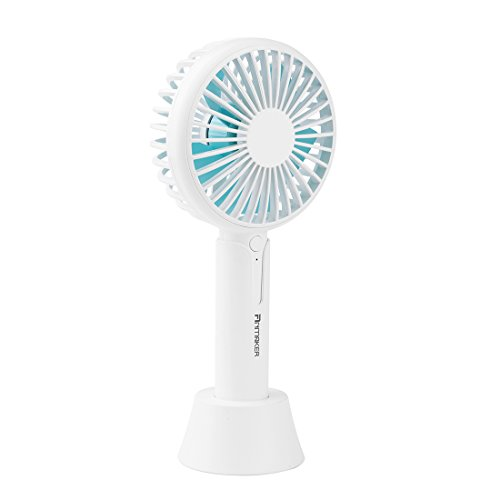 Mini Portable USB Handheld Fan Rechargeable, Anmaker 2000mAh Small Handheld Personal Fan Battery Operated Desk Fan Electric White with Removable Base 3 Speed for Kids,Women,Outdoor,Girls,Travel by Anmaker