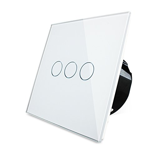 Wallpad Black Glass Panel 3 Gang 2 Way Capacitive 1-200w Touch Sensor Light Wall Switch, Square Size, UK Standard