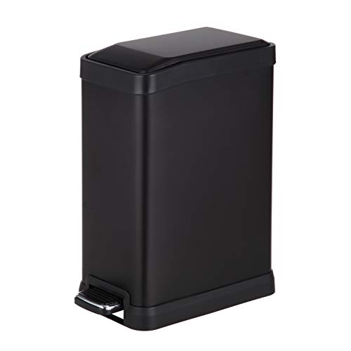 Home Zone Carbon Steel Kitchen Trash Can with Rectangular Design and Step Pedal   8 Liter / 2 Gallon Storage with Removable Plastic Trash Bin Liner, Black