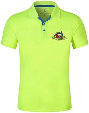 AVJDJDe Moda de Verano para Hombre Camisas de Polo de Manga Corta de algodón Color sólido Caballo para Hombre Solapa Polos Casual Delgado para Hombre Tops XL Verde Fluor