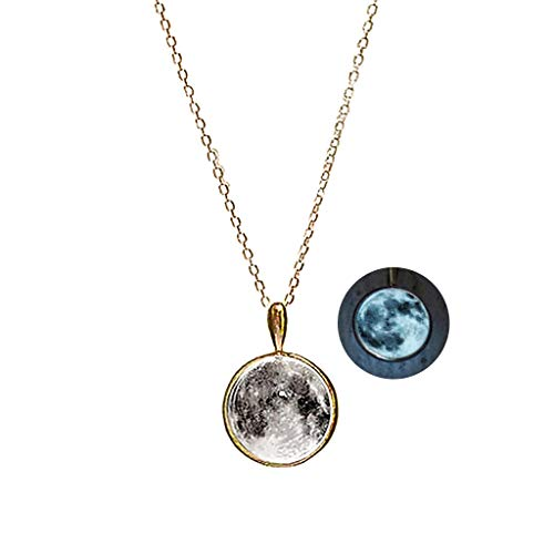WINGBLING Women White Moon Luminous Magical Fairy Glow in The Dark Gold Plating Necklace - Moon Fairy Necklace