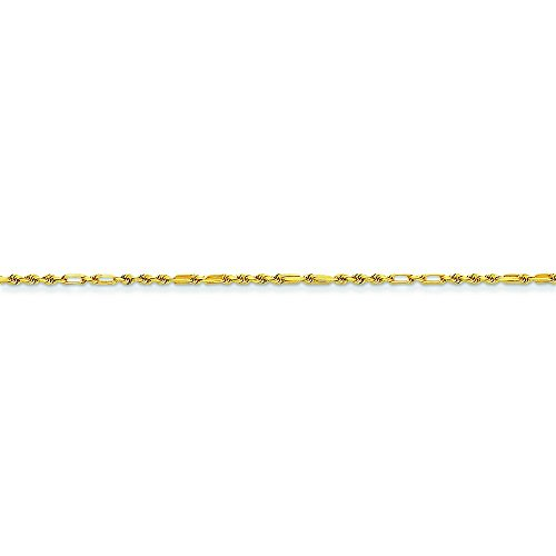 1,25 mm 14 carats Milano Bracelet chaine de corde 23 cm-JewelryWeb