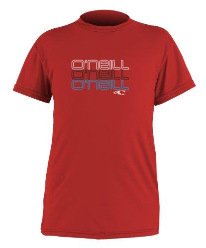 (O'Neill Wetsuits UV Sun Protection Boys Toddler Skins Short Sleeve Tee Sun Shirt Rash Guard, Red, 6)
