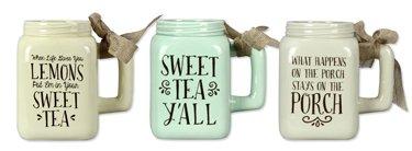 - Assorted Ceramic Southern Mason Jar Mugs - Set of 3