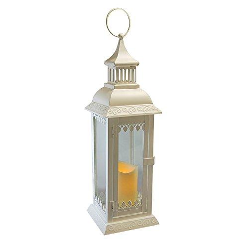 - Lumabase 90201 Leaf Detail Metal Lantern with LED Candle, Warm White