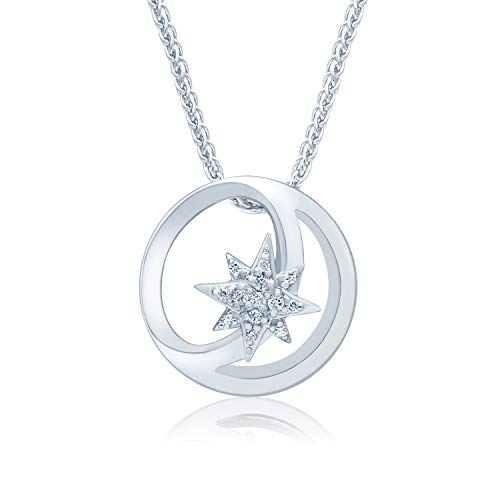 (UNIVERSE FINE JEWELRY Diamond-Accent Star Center Crescent Moon Disc Pendant Necklace Inspired by Marvel's Captain Marvel)