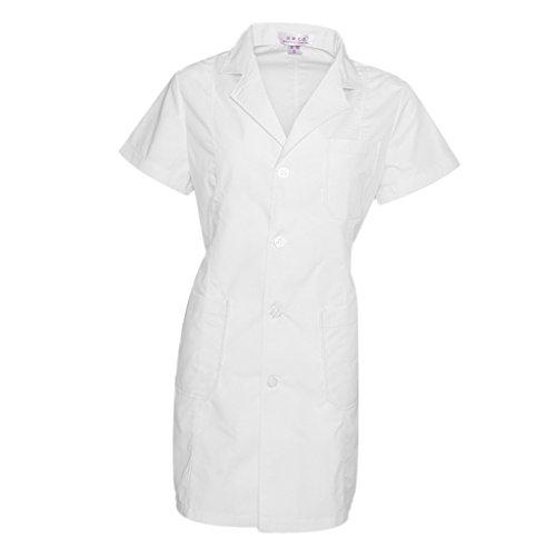 Coat Hygiene - MonkeyJack Unisex Lab Laboratory Warehouse Doctor Work Wear Coat Technician Food Hygiene - Women-Short Sleeve, M