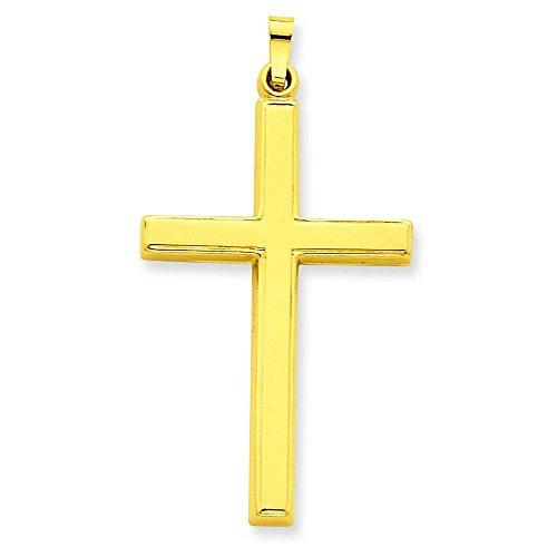 Creux 14 Carats Pendentif croix-Dimensions :  42,9 x 229 mm-JewelryWeb
