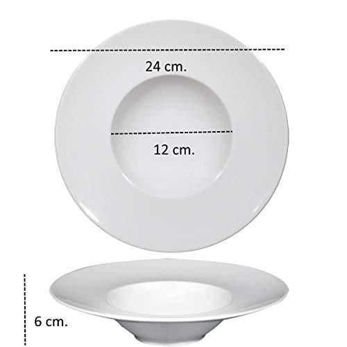 Pagano Home Saturnia piatto pasta k-bowls fondo diametro 24 cm in porcellana bianca linea isotta