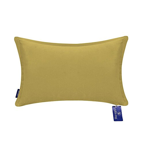 Ginger Bed Cover - Aitliving Decorative Throw Pillow Cases Solid Colour Lumbar Cushion Pillow Cover Cotton Velvet 1 pc Cotton Bolster Pillow Cushion Cover Yellow Ochre 12x18 inches(30.5x46cm)