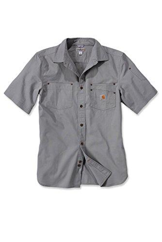 Carhartt 101164 Renville Solid Short Sleeve Woven Shirt - Arbeitshemd - Freizeithemd (Grau)