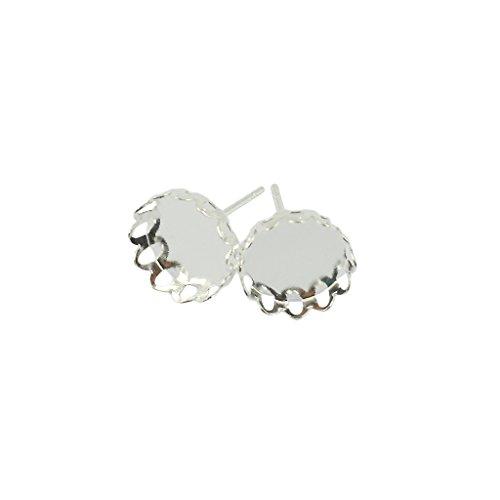 MonkeyJack 20PCS Vintage Filigree 10mm Round Cabochon Setting Earring Pin Studs - Silver White - Vintage Pin Earrings