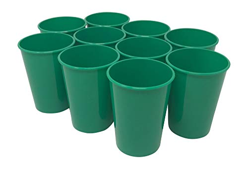CSBD 10 Pack Blank 12 oz Plastic Kids Cups Bulk Tumblers - Reusable or Disposable, Made In USA, Great For Customization, Monograms, Marketing, DIY Projects, Weddings, Parties, Events (10, Green)