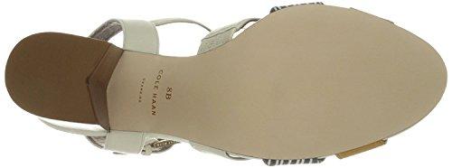 Sandalo Cole Alto Vestito Donna Anisa, Pelle Avorio / Stampa Bianco Ottico / Blu Scuro / Pelle Giallo Minerale