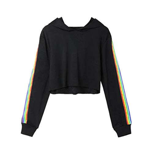 Spbamboo Womens Long Sleeve Rainbow Patchwork O Neck Sweatshirt Blouse Pullover by Spbamboo