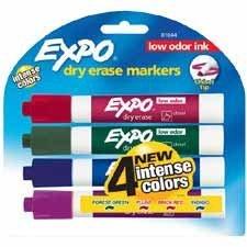 EXPO 81044 Low Odor Dry Erase Marker, Chisel Tip, Assorted, 4 per Set (SAN81044)