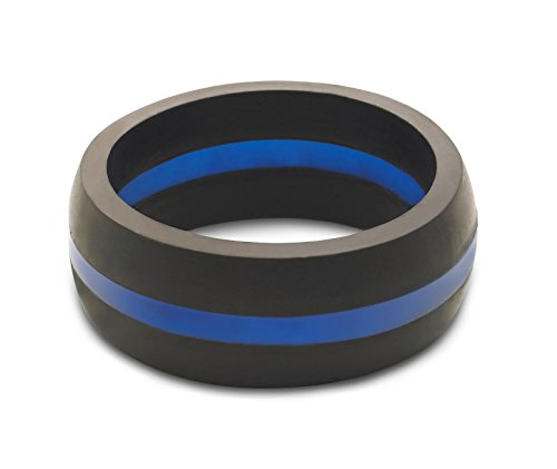 Men's Thin Blue Line Classic Silicone Ring Size 12
