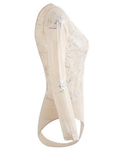 Simplee Apparel Women 's cuello en V de encaje bordado con lentejuelas de malla lenceria body manga larga Leotard Khaki
