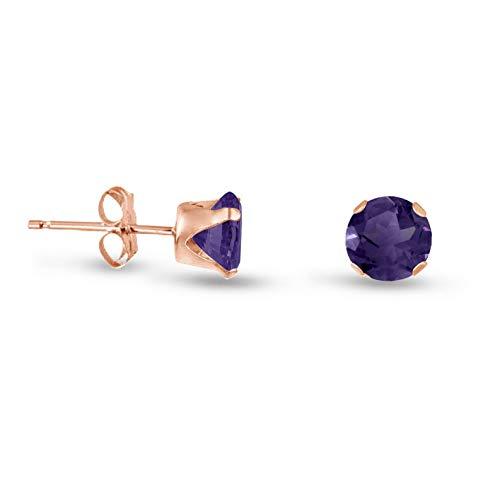 Campton Rose Gold Plated Silver Earrings- Round Purple Amethyst CZ~February Birthstone   Model ERRNGS - 13964   4mm - Medium ()