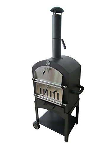 Wood Pellet Pizza Oven KU2B Charcoal Garden Pizza Oven, Stand Alone, Black/Stainless