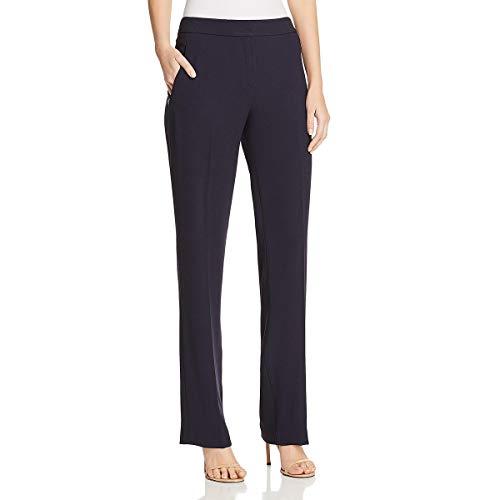 (Elie Tahari Womens Leena Crepe Flat Front Trouser Pants Navy 0)