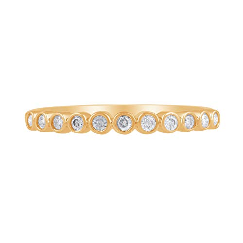 1/5 Carat Natural Diamond Stackable Band 14K Yellow Gold (H-I Color, I2 Clarity) Diamond Band for Women Diamond Jewelry Gifts for Women, US Size ()
