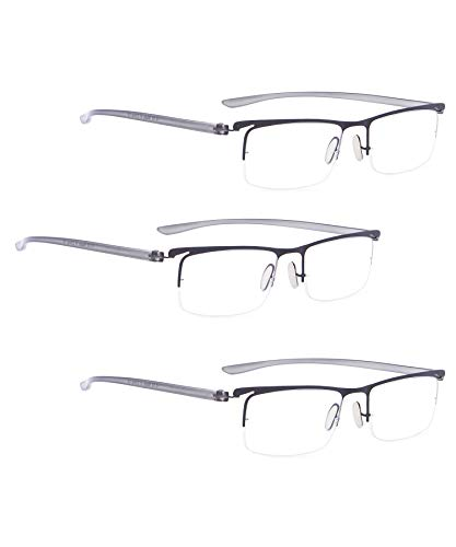 READING GLASSES 3 pack Half-Rim Readers (Black, 3.00) ()