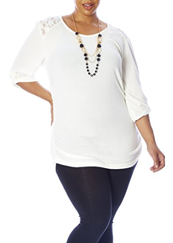 Stretch Bodice - Love Collection Womens Top – Plus Size, Lace Detail, Bunched Bodice, Tab Sleeves