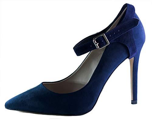 Pour talons Chaussure Sangles chaussures plates maintenir Sombre à de laches Suede place des Amovibles hauts Bleu en chaussures SvvqwxRt