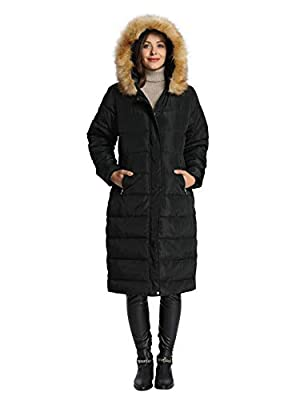 iLoveSIA Womens Puffer Long Coat Maxi Parka with Fur Trimmed Hood