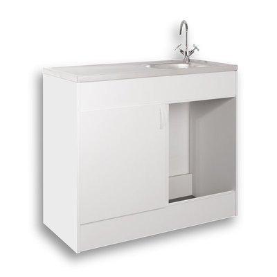 Mebasa KPSP10050 Spülenschrank - Komplettspüle, hochwertiger Spültisch inkl. Unterschrank, Auflagenspüle mit Ab- und Überlaufgarnitur, moderner Küchenschrank, Maße: 100x50 cm, in Weiß