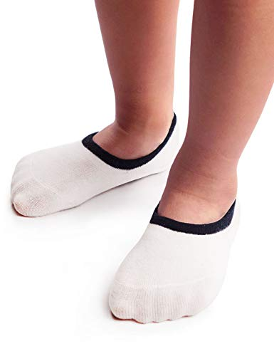 (Kids Little Boys Girls Soft Cotton No Show Socks with Non Slip Grip, Breathable Sneaker Liner Socks,7-10 Y, White Yellow Red, 6 Pairs)