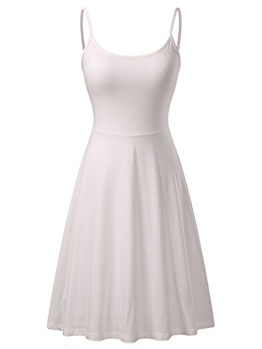 (VETIOR Women's Sleeveless Adjustable Strappy Flared Midi Skater Dress Large White)