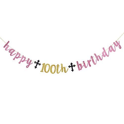INNORU Happy 100th Birthday Banner , Pink Glitter 100th Birthday Party Decorations , Adult Party Supplies Photo Props Sign 100 Years -