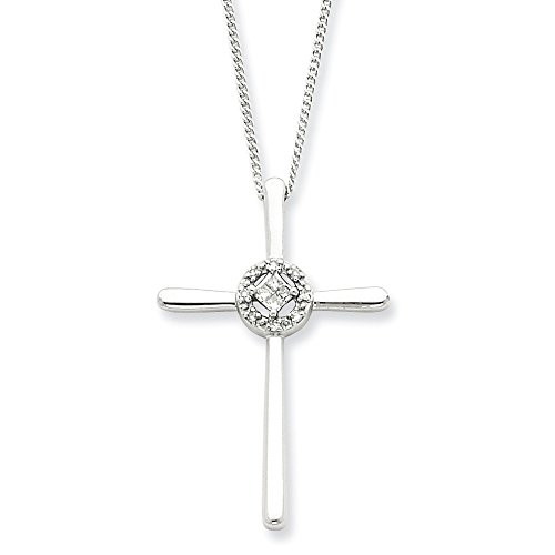 Sterling Silver Diamond Eternal Life Cross Necklace Chain 16