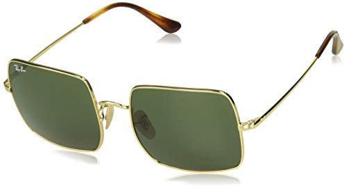 Ray-Ban RB1971 Square Classic Metal Sunglasses, Gold/Green, 54 ()