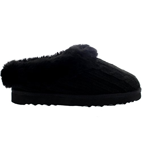 Womens Real Knitted Slippers Black pzVV4ILb