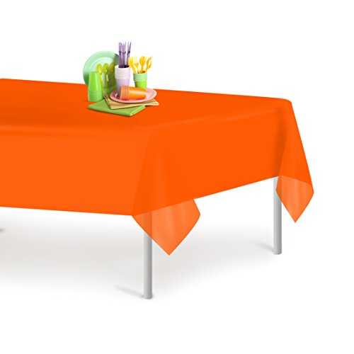 Orange 12 Pack Premium Disposable Plastic Tablecloth 54 Inch. x 108 Inch. Rectangle Table Cover By Dluxware