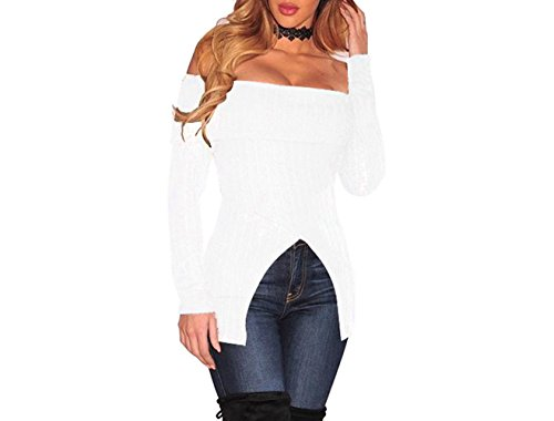 Womens Sexy Knit Off Shoulder Front Split Ribbed Clubwear Crop Tops Blouse Shirt White S
