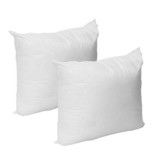 (Mybecca Set of 2-12 X 12 Premium Hypoallergenic Stuffer pillow Insert Sham Square Form Polyester, Standard/White - MADE IN)