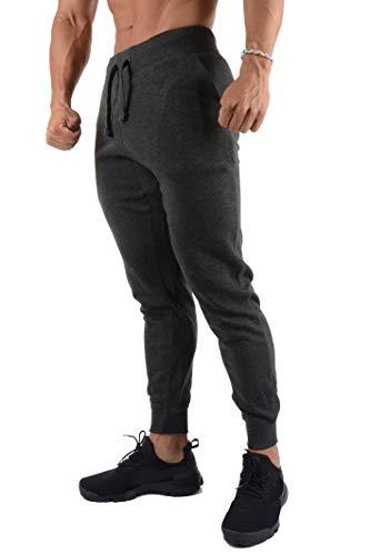YoungLA Joggers Pants Men Slim Fit Lounging Gym Sweatpants 220 Charcoal S (Best Slim Fit Sweatpants)
