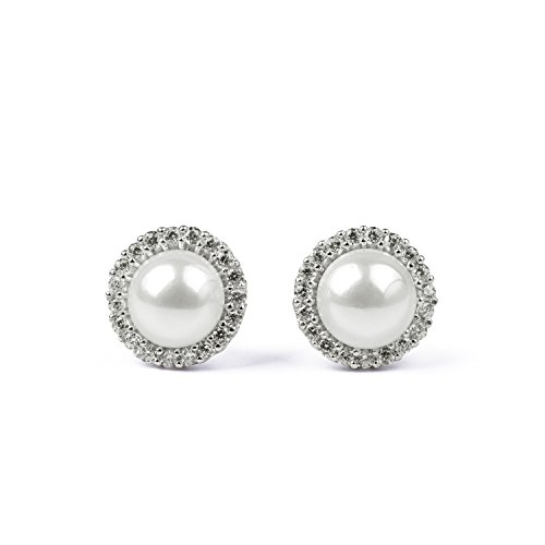 blackbox Jewelry Sterling Silver White Simulated Shell Pearl & Cubic Zirconia Elegant Round Stud Earrings -